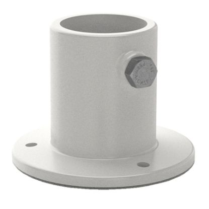 DECK LADDER FLANGE ALUMINUM 1.5IN TUBE ABOVE ROUND WHITE  PF-2115-L