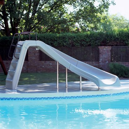 WHITE WATER POOL SLIDE LEFT TAN 4' HIGH INTERFAB WWS-CLT-SS