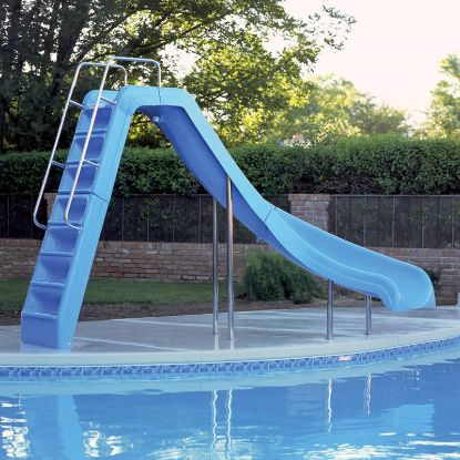 WILD RIDE POOL SLIDE LEFT BLUE 6.5' HIGH INTERFAB WRS-CLB-SS